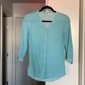 Uniqlo Turquoise cotton shirt 3/4 sleeves